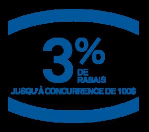 3% de rabais jusqu'à concurrence de 100 $ pour les membres CAA offert chez leprohon