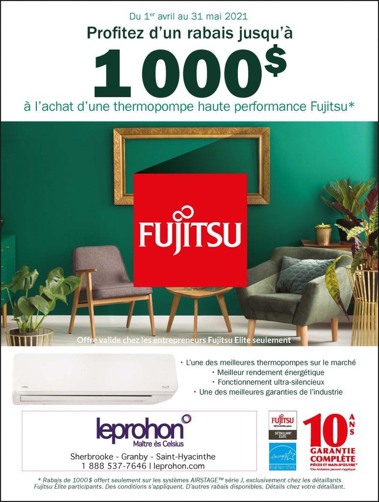 Promotion FUJITSU en vigueur du 1er avril au 31 mai 2021. Offerte chez leprohon